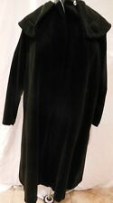 Vintage 50s 60's black cotton velvet one button wrap coat Fully Lined sz S/M ?