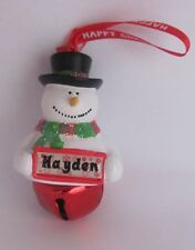 25363 HAYDEN NAME FROSTY SNOWMAN COLOUR BELL CHRISTMAS TREE DECORATION GIFT