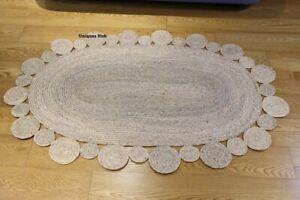 Rug 100% Natural Braided jute oval rug modern living rustic look area carpet rug