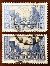 FRANCE 1929 SG474 10fr PALE ULTRAMARINE TYPE I and TYPE III USED NIBBLED PERF