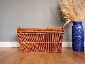 Vintage Retro Bohemian Style Rattan Bamboo storage trunk chest / toy box