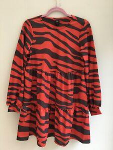 RIVER ISLAND DRESS SIZE 12 SMOCK STYLE 3 TIER ZEBRA PRINT RED & BLACK BNWT
