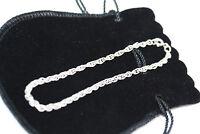 "Sterling Silver Retro Vintage 925 Bracelet Women's 18CM 7"" Estate Rope Chain 4MM"