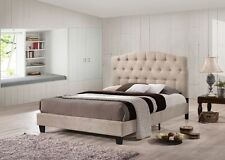 4FT6 DOUBLE JAYDEN LUXURY BEIGE CHESTERFIELD FABRIC UPHOLSTRED BED FREE DELIVERY