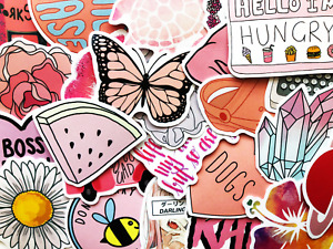 50 Pink Sticker Bomb Scrapbooking Laptop Phone Skin Lot Set Bulk Decoration