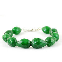 LOWEST PRICE 246.30 CTS EARTH MINED RICH GREEN EMERALD PEAR CUT BEADS BRACELET