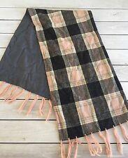Vintage Wool Scarf Pink Black Gray Tartan Plaid Fringe Winter Warm 2 ply Neck