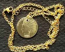 """Gold Plated Novelty Ten Dollar Coin Style Necklace 24"""" **UNIQUE GIFT ITEM**"""