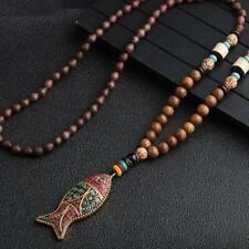Handmade Nepal Necklace Buddhist Mala Wood Beads Pendant & Necklace Ethnic Horn