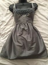 (#1547) KATE MOSS TOPSHOP Iconic Silk Blend Silver Party Dress Size 12 UK