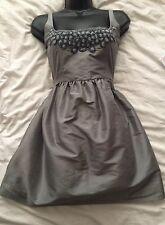 Vestido De Fiesta (#1547) KATE MOSS Topshop icónicos de Seda Mezcla De Plata Talla 12 Reino Unido