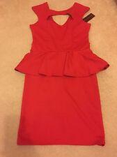 Knee Length Peplum Short Sleeve Regular Dresses for Women