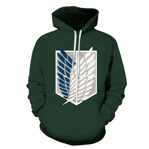 Anime Attack On Titan Cosplay Hoodie 3D Printed Streetwear Unisex Pullover Gift