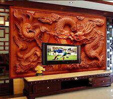 3D Sitting room the bedroom TV mural background Embossed dragon wallpaper 3349