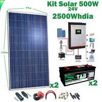 Kit Solare 24v 500w Invertitore 3kva Mppt 60A Ibrido Batteria Monoblock Tab