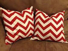"Homemade Red Chevron Throw Pillows. Set of Two. 12""x12"""