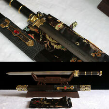 Hand forge Damascus folded steel Ebony wood chinese 如意剑 sword battle ready sharp