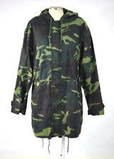 CLENCH Green Jungle Camo Hooded Hunting Field Coat Jacket Drawstring Waist Large