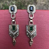 Art Deco Long Geometric Earrings Rhinestones Vintage Inspired