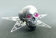 Skull ring Large open jaw with Rubies Men .925 Pure Silver Fully Hand Carved NEW