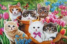 Deluxe Jigsaw Puzzle 1000 Piece Cats Kitties In The Garden Animals DIY YC1385