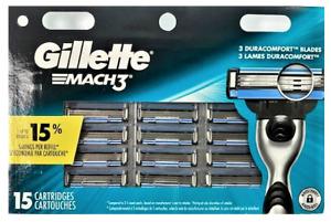 Gillette Mach3 Razor Blade Refills, 15 Cartridges