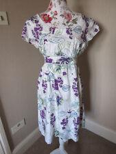 Mistral cotton cap sleeved empire line floral cotton dress size 16/14