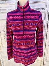 Size S COLUMBIA Half Zip Women's Fleece Jacket Pink Purple Geo Print Mock Neck