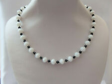 White Jade Faceted and Black Faceted Glass and Silver Bead Necklace