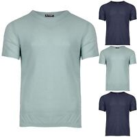 Mens Designer Branded Ribbed Hem Waffle Knit Short Sleeve Crew Neck Top T Shirt