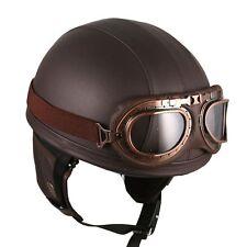 Motorcycle Motorbike Half Face Vintage Goggle Helmets Brown