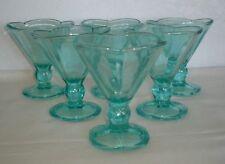 Set of 6 Goblets Compote Ice Cream Sundae Dishes Glasses Teal Aqua Blue Green