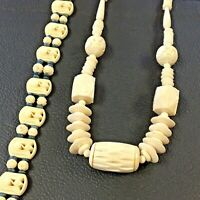 """Vintage Plastic Carved Celluloid Necklace Lot of 2 17"""" Choker 24"""" Carved Beaded"""