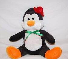 "Kellytoy Christmas Penguin Red Hat 12"" Plush Stuffed Lovey Toy"
