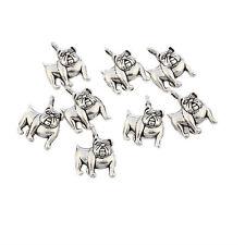 Bull Dog Tibetan Silver Bead charms Pendants fit bracelet 10pcs 15*16mm