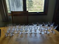 Set 22 Vintage Crystal Glasses