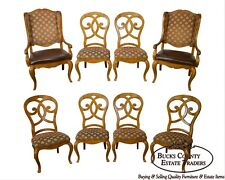 Thomasville Set Of 8 Burl Wood Biedermeier Style Dining Chairs