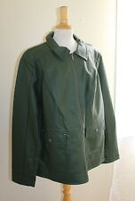 NEW Dennis Basso -Sz 2X Green Faux Leather Zip Front Jacket with Zip Cuff Detail