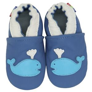 carozoo whale blue 18-24m soft sole leather baby shoes