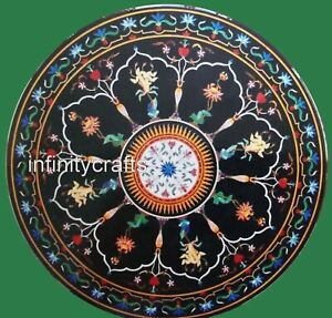 """60"""" Black Marble Dining Table Top Mosaic Art Hallway table for Home Furniture"""