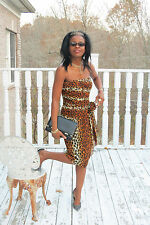 New designer old stock Classy Corset Lillie Rubin Spotted Leopard Dress M 4-8