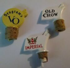 3 Vintage Whisky Spouts Pourers Old Crow Seagrams VO Imperial Plastic
