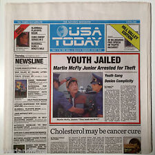 Back to the Future Usa Today Thursday, Octobert 22, 2015 Newspaper Youth Jailed