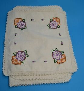 """vtg 5 pc Embroidered Table Runner Purple Flower Baskets 36"""" country cottage"""