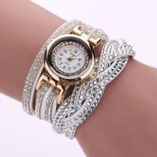 Women Casual Watch Bracelet Crystal Leather Dress Analog Quartz Wrist Watches