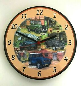 Landrovers Battery Operated Wooden Wall Clock