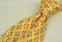 Ermenegildo Zegna Yellow Red Blue Abstract Floral Geometric 100% Silk Tie