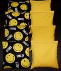 Dont Worry Smile Be Happy Yellow and Black 8 ACA Regulation Corn Hole Game Bags