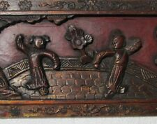 "Antique 19CT Chinese Carved Wood Red & Gilt Bed Panels Couple on Terrace 13.5""x5"