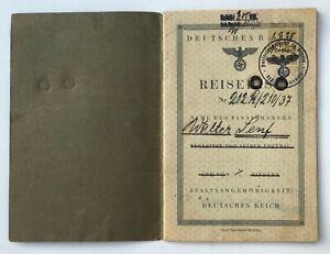 Vintage German Passport Booklet.  Reisepass. Fiume.